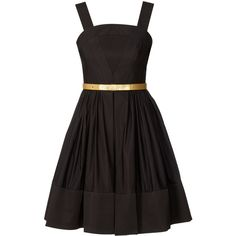 Orla Kiely Party Ottoman Leather Bow Belt Dress ($515) ❤ liked on Polyvore