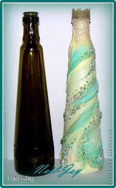 Декор предметов Бутылочка весенняя Бусины Бутылки стеклянные Краска Ткань фото 2