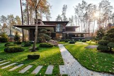 """Prairie House is a new project designed by Yunakov architecture. It is located in Bucha, Kiev, Ukraine. Prairie House by Yunakov Architecture: """"The hardest part of the task set before us was to """"catch"""" the style and proportions of the grea Chalet Modern, Prairie House, Prairie Style Houses, Mid Century House, Home Fashion, Fashion Beauty, Mens Fashion, Modern House Design, Japan Modern House"""