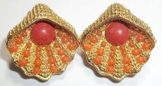 Vintage Clip On Earrings Gold Tone Seashells With Coral Colored Balls in Jewelry & Watches, Vintage & Antique Jewelry, Costume, Retro, Vintage 1930s-1980s, Earrings | eBay