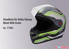#helmet Steelbird Air Delta Glossy Black With Green. #bikersafety order now from www.yooshopper.com.