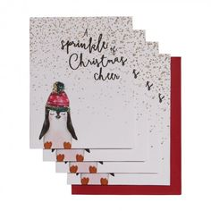 Penguin in hat Christmas cards - pack of 6