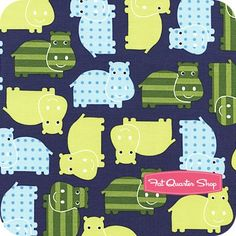 Urban Zoologie Green and Blue on Navy Hippos Yardage SKU# Tent Fabric, Urban, Navy, Blue, Zoology, Hale Navy, Old Navy, Navy Blue