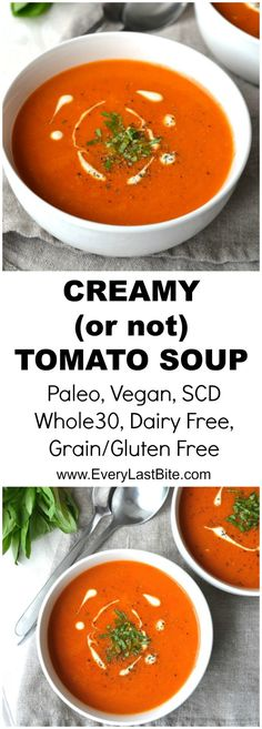 Tomato Soup | Every Last Bite Vegan Tomato Soup, Cream Of Tomato Soup, Tomato Soup Recipes, Chicken Soup Recipes, Easy Soup Recipes, Paleo Recipes, Quick And Easy Soup, Paleo Diet, Soups And Stews