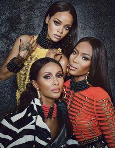 Trois légendes de la mode, Rihanna, Naomie Campbell et Iman, posent en Balmain pour un sujet de W Magazine consacré au directeur artistique de la maison française.