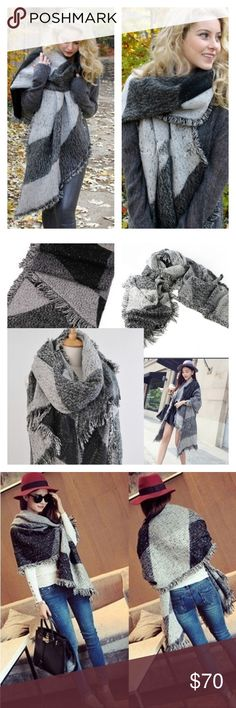 Winter warm wool -cashmere scarf/shawl Material: Pashmina Type: Scarf Color: Black Gray. Plaid  Size:One Size. Long scarf Width:70cm(20.9 ) Length:200cm(59.8). Very nice scarf. It's beautiful and warm. Accessories Scarves & Wraps