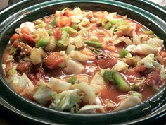 crockpot cabbage soup. I think this is for that cabbage soup diet, but it just looks yummy to me.