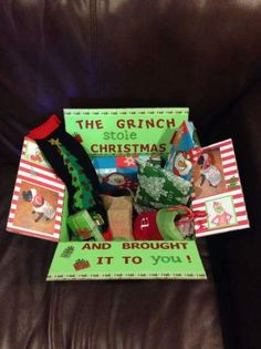 The Grinch Christmas Care Package that I made for Austin – Sheepdog Support Co. The Grinch Christmas Care Package that I made for Austin The Grinch Christmas Care Package that I made for Austin Diy Gift Baskets, Christmas Gift Baskets, Holiday Gifts, Ideas For Christmas Gifts, Diy Christmas Gifts For Boyfriend, Christmas Boxes, Christmas Presents, The Grinch, Grinch Christmas