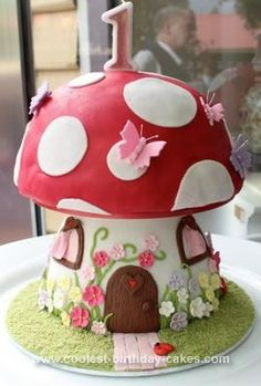 Homemade Mushroom Cake: This Mushroom cake was for my daughters first birthday - a real labor of love! Its a chocolate cake (with a box of dark chocolate Lindt balls mixed in
