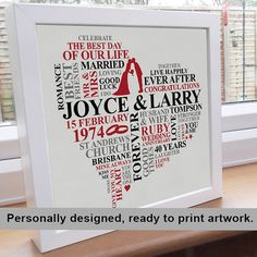 Printable File Ruby Anniversary Word Art. by AliChappellUK, £15.00 on etsy.com