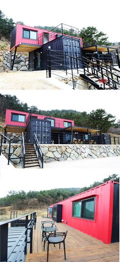 Seaside Luxury Container Home – South Korea Shipping Container Cabin, Cargo Container Homes, Shipping Container Home Designs, Building A Container Home, Container Buildings, Container Architecture, Container House Plans, Container House Design, Architecture Jobs