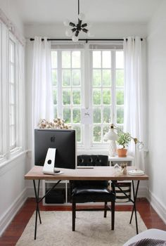 perfect home office nook w/ wonderful lighting | Skirt the Ceiling | skirttheceiling.com