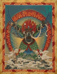 Tibetan Buddhist Garuda Thangka Tapestry Cross Stitch pattern - PDF - Instant Download! by PenumbraCharts on Etsy