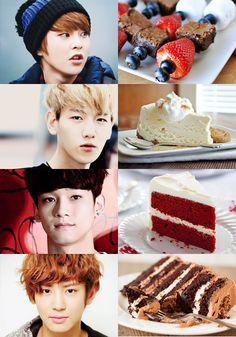 Exo as desserts. Chanyeol is my bias but I love red velvet cake so much. Kyungsoo, Chanyeol, Exo 12, Exo Lockscreen, Exo Memes, My Best Recipe, Kdrama, Desserts, Velvet Cake