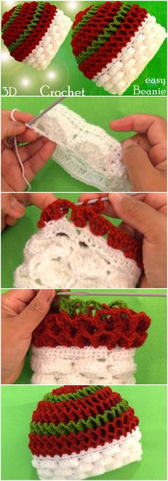 Crochet 3D Beanie Hat Marshmallow Stitch