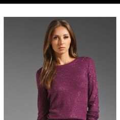 Alice and olivia simon all over tunic PURPLE Brand new never worn tunic/sweater super cozy and glamorous! Picture of gold and black to show length, the purple is the color I have it in. Alice + Olivia Dresses
