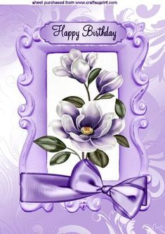 PURPLE MAGNOLIAS WITH BOW A4 on Craftsuprint designed by Nick Bowley - PURPLE MAGNOLIAS WITH BOW A4, Makes a pretty card, lots of other colours to see, Also can be seen in A5 - Now available for download!