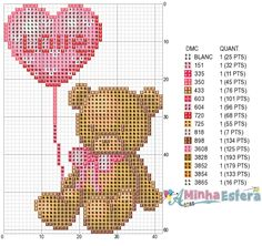 Teddybear with heart cross stitch Tiny Cross Stitch, Cross Stitch Heart, Cross Stitch Flowers, Cross Stitching, Cross Stitch Embroidery, Hama Beads Disney, Disney Cross Stitch Patterns, Bear Design, Baby Kind