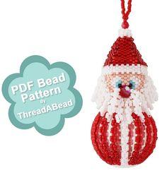 Bead Pattern: Santa Christmas Beaded Ornament