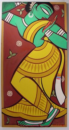 Gopika, Jamini Roy out of india - dancing Krsna devotee