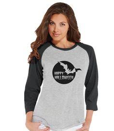 Women's Halloween Shirt - Black Bat Happy Halloween Shirt - Ladies Halloween Party Shirt - Adult Halloween Costumes - Grey Halloween Raglan
