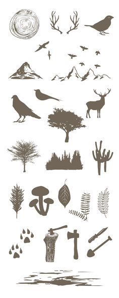 Free forest vector elements ideal for handdrawn forest-related vector illustrations for your sites, invitation cards, logos, posters, and more. Vector Design, Vector Art, Design Art, Graphic Design, Free Vector Graphics, Free Vector Downloads, Free Vector Files, Silhouette Cameo Projects, Planer