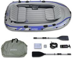 Intex Excursion 4 Inflatable Raft - Four Person Blow Up Fishing Boat