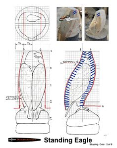 Chainsaw carving patterns Standing Eagle 2of5