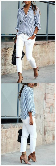 Navy blue and white striper blouse with white pants Oufits Casual, Casual Winter Outfits, Summer Outfits, Work Casual, Casual Chic, Casual Wear, Blue And White Striped Shirt, White Jeans, Navy Blue