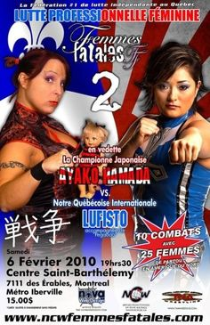 Old promo poster from the NCW Femmes Fatales wrestling promotion featuring LuFisto and Ayako Hamada