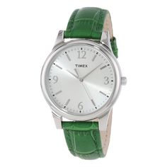 Green Timex Leather Watch for women