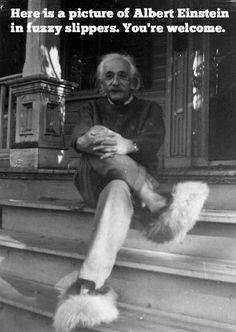 Rare photo of Albert Einstein in fuzzy slippers.