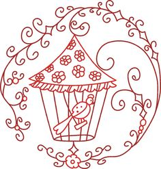 Free Easy Redwork Pattern | Free Embroidery Designs, Cute Embroidery Designs