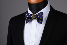 BowTie - Double Sided Blue Dot Checks