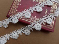 White Lace Trim Baumwolle Ribbon Lace Blume Trim von prettylaceshop