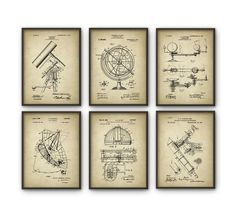 Astronomy Patent Prints Set of 6 - Astronomer Wall Art - Telescope Space Observatory Dome Radio Telescope Planetarium - Astronomer Gift Idea by QuantumPrints on Etsy https://www.etsy.com/uk/listing/287360351/astronomy-patent-prints-set-of-6