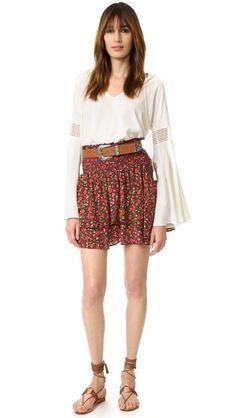 The Kooples Hippy Flower Print Ruffle Skirt + bell sleeve top + western belt + sandals