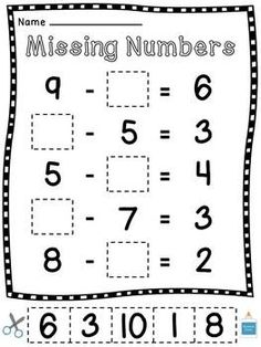 Missing Addends- Solve each number sentence by adding the