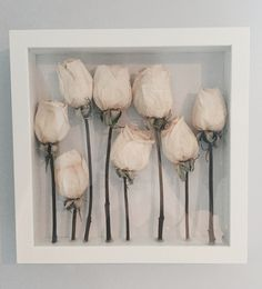 Dried bridal bouquet in shadow box display More