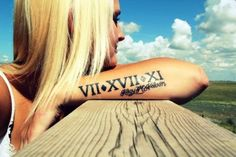 Roman Numeral Date With Letters Tattoo On Arm Sleeve For Girl