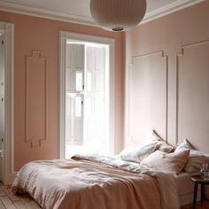 Modern Victorian pink bedroom moulding large windows