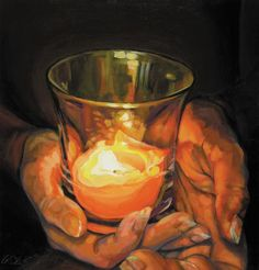 Hands By Candlelight Painting  - Hands By Candlelight Fine Art Print