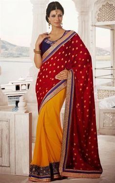Picture of Attractive Maroon and Yellow Color Saree