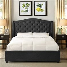Searching bedroom remodel pictures? Hampton and Rhodes Mackenzie Upholstered Platform Bed in Charcoal in Queen  http://aluxurybed.com/product/hampton-and-rhodes-mackenzie-upholstered-platform-bed-in-charcoal-in-queen/