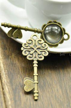 DIY Jewelry Making Vintage 3 pcs Love Key Pendant Trays/ Bezels/ Cabochon Settin
