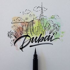 Cities around the world with a Brushpen by David Milan #lettering #script #typography #type #brush #handlettering #visual #design: