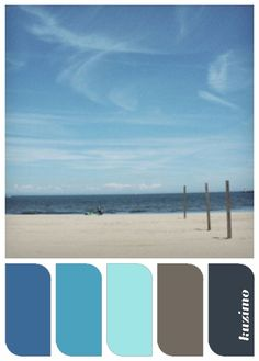 The color on the left and the two on the right would be great for this bathroom Ocean Breeze This color palette was created by Susan Tuttle from one of her photographs. Beach Color Palettes, Ocean Colors, Pallet Painting, Color Palate, Design Seeds, Reno, World Of Color, Color Stories, Ocean Beach