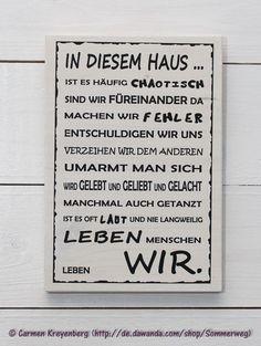 Wanddeko - Holzschild Familie Zuhause Haus Leben Liebe lachen - ein Designerstück von Sommerweg bei DaWanda