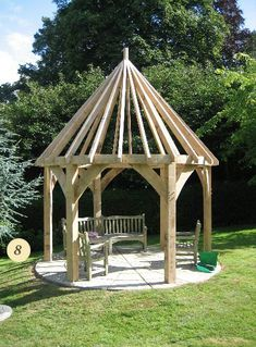 Hexagonal oak framed gazebo