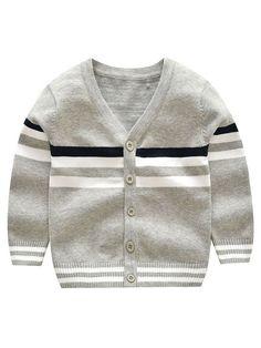 Simple Stripe Pure Cotton Boy's Cardigan